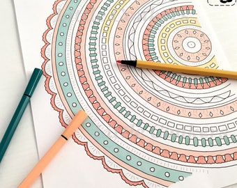 Printable Colouring Pages for Crocheters / Crochet Colouring Pictures / Crochet Mandala Crochet Hexagons Star Blanket / Bundle 3
