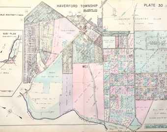 Haverford Township 1937 Main Line Property Atlas Map Of Delaware County Llanerch Country Club Manoa