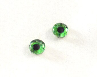 6mm Green Eye Glass Cabochons - Tiny Glass Eyes for Doll or Jewelry Making - Set of 2