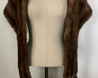 Vintage Mink Stole with Tassels c. 1950