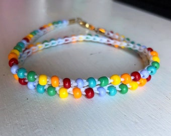 Rainbow Colored Handmade Crochet Wrap Bracelet