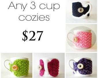 Any three cup cozies for 27, SALE, Set of three cup cozies, Crochet coffee cup cozies, Cute mug cozies, Tea mug cozies, Pick from 25 colors