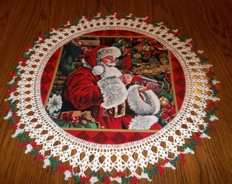 Crocheted Christmas Doily Santa Delivering Presents 23 inches Fabric Center Crocheted Edge Doilies Centerpiece
