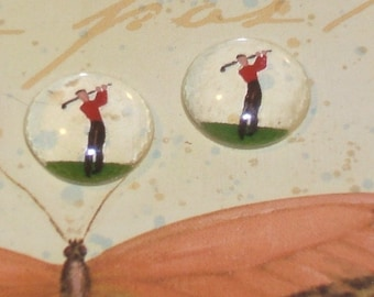 Vintage Glass cabochon.GOLFING GUY german 15mm