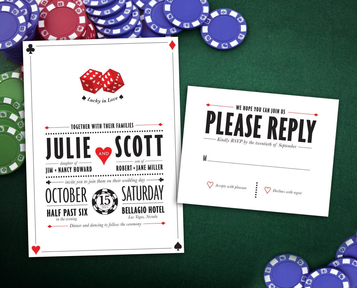 Lucky In Love Las Vegas Wedding Invitation