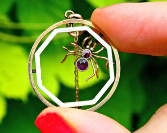Antique Edwardian 9ct 9k Gold Spider Insect Enamel Charm Pendant Necklace, Antique Figural Bug Jewelry