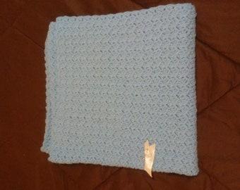"Crochet Baby Blanket  - Soft Blue  32 x 32 """