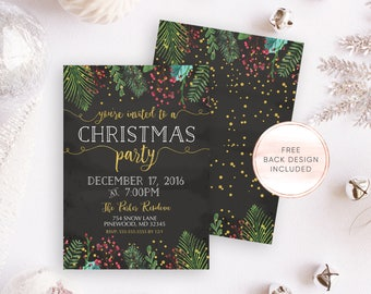 Christmas Party Invitation, Chalkboard Christmas Party Invitation, Christmas Cheer, Rustic Christmas Invitation, Gold Christmas Invite [551]