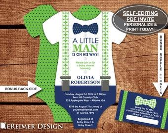 Little Man Baby Shower Invitation, Onesie Invitation, Bow Tie, Suspenders, Navy, Green, Self-Editing PDF Invite, BONUS Raffle Tickets