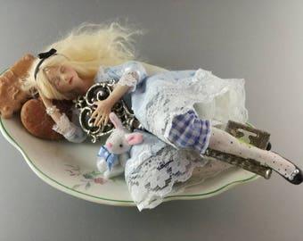 OOAK Art Doll, Alice in Wonderland, placeable sculpture, fantasy creation, hand-sewn fabric dress
