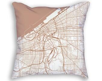 Cleveland Ohio City Street Map Throw Pillow