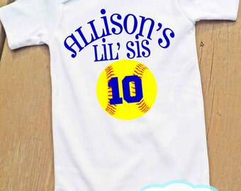 Softball Little Sister - Bodysuit or Tshirt - Girl Shirt - You choose color of wording for your team - Add your child's name