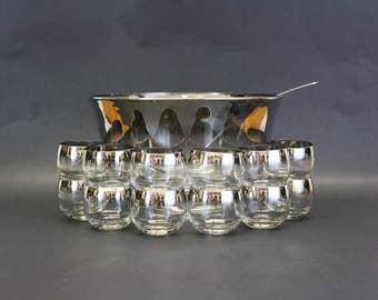 Vintage Mid Mod Silver Ombre Punch Bowl with Ladle and 12 Roly Poly Glasses (E8394)
