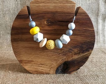 Mustard yellow and grey mama necklace