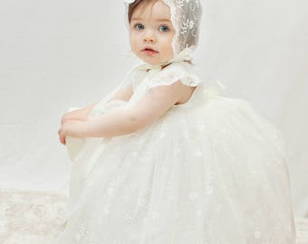 Christening Dress 'Ava' - Adore Baby - Baptism Dress - Baby Girl Baptism Dress - Baby Blessing Dress - Christening Gown - Baptism Gown