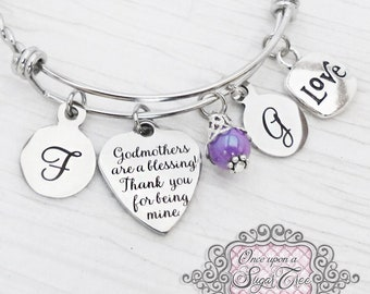 Godmother Jewelry- Bracelet, Godmother Gift, Blessed, Gifts for Godmother from Godchild, Baptism, First Communion, Religious, thank you