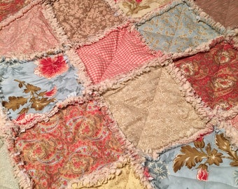 Rag Quilt, Lap Quilt, Throw Quilt, Shabby, Cottage Chic, Autumn Lily, Blackbird Designs, Moda, Red, Gold, Tan, Blue, 49 X 57, Ready To Ship