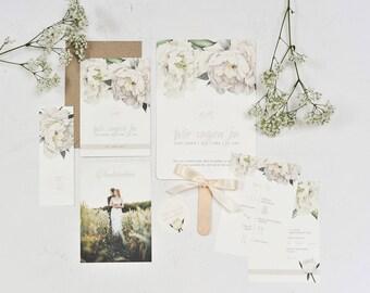 "Sample Card wedding Invitation ""White flowers"" |Floral Flowers | Chic |Vintage | White flowers | Invitation"