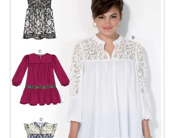 Sewing Pattern for Misses' Notch-Front Tops and Tunics, McCall's Pattern 7095, Plus Sizes Avail, Sleeveless or Three Quarter, Lace Inserts