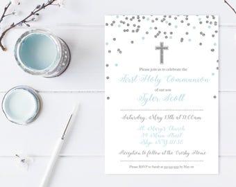 Communion Invitations, First Holy Communion, First Communion, Communion Invites, Printable Invitations, Digital Invitations, Boy [606]