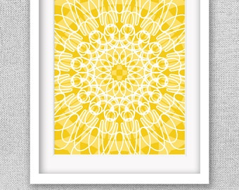 Modern Flower Art, Printable Art, Yellow Wall Art, Mandala Art, Printable Wall  Art, Printable Poster, Mandala Printable, Modern Art Print
