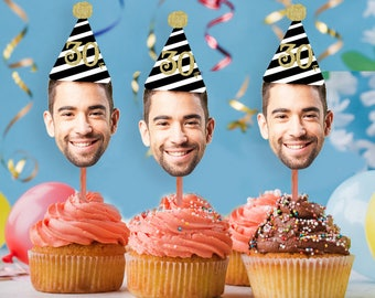 Photo Cupcake Toppers (30th, 40th, 50th, 60, 75) Digital File ,Birthday Decor, 30th birthday for him decorations, Cupcake, Photo, ANY AGE