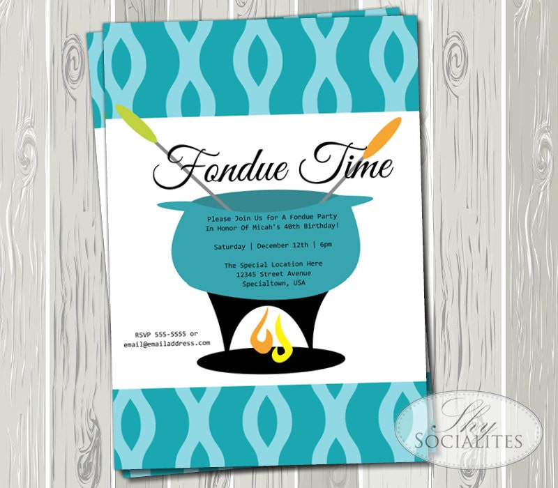 Fondue Party Printable Invitations Aqua Blue Teal Retro