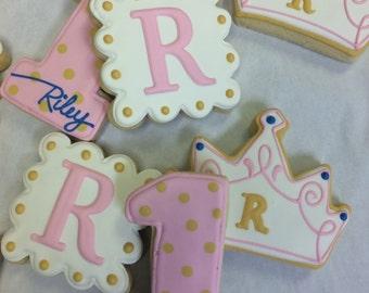 Princess Themed Cookies, 1st Birthday Princess Cookies, Crown Cookies, Tiara Party Favors, Princess Theme Cookies