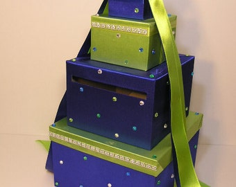 Wedding Card Box Royal Blue and Lime Green Gift Card Box Money Box Holder--Customize your color--custom made