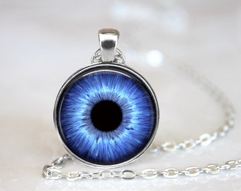 Blue Eyes Photo Glass Pendant/Necklace/ Keychain