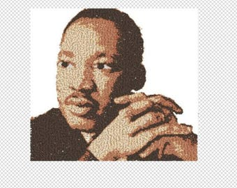 Martin Luther King Jr Photo Stitch Embroidery Design file - sized for 5x7 hoop - digital download - 7 thread colors