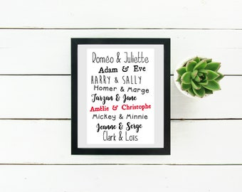 Poster to famous Couples with your name frames