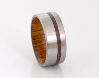 Titanium wedding band wood ring dinosaur bone ring man jewelry woman ring flat band
