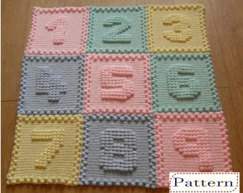 CROCHET PATTERN Numbers Baby Blanket by Peach.Unicorn