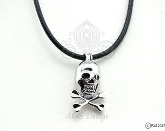 Pick A Pearl Cage Silver Pirate Skull Crossbones Bead Gem Cage Black Necklace Boys Guys