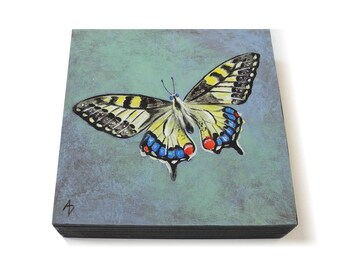 Yellow Butterfly painting 6x6 - original entomology art - colorful butterfly art - spring insect painting - pretty spring nursery nature art