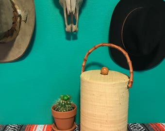 Vintage Mid Century Raffia and Faux Bamboo Tall Ice Bucket