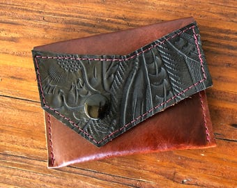 Leather rustic coin or card case