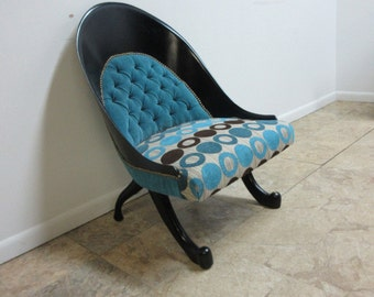 Funky Hollywood Regency Style Modern Scoop Back Fireside Lounge Club Chair A