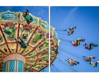 Carnival Swings Ride Canvas Diptych, 2 Panel Art, LARGE, Ready to Hang