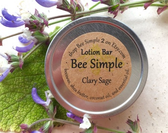 Lotion Bar - Clary Sage Lotion - Hand Lotion - Gift for Gardener - Gift for Mother - Travel Lotion - Natural Lotion