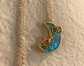 Aqua Shimmer Deco Moon Necklace