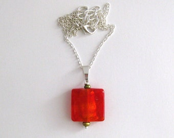 Red Glass and Pearl Geometric Necklace