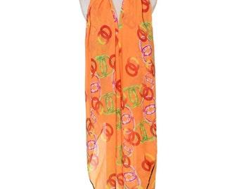 Womens Scarf, Orange Scarf, Floral Print Scarf,  Fashion Scarf, Chiffon Scarf, Voile Scarf, Cotton Scarf