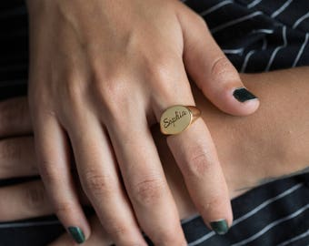 Gold Signet Ring - Personalized Signet Ring - Name Ring - Personalized Name Ring - Initial Signet Ring - Monogram Signet Ring - Gold Filled
