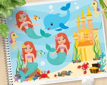 Mermaid Princess, Under the Sea, treasure chest, crab, sea horses, starfish, pirates, crab, Commercial Use, SVG Cut file, Vector Clipart