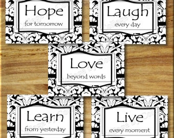Black White DAMASK Wall Art Picture Prints Decor Quotes Words Inspirational Hope Learn Love Laugh Live Photos UNFRAMED Bathroom Bedroom Chic