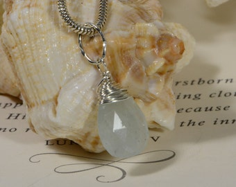 Aquamarine Birthday  Stone Briolette Dangle Drop Wire Wrapped Beads Charm On