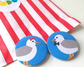 Seagull Badges, Seagull Buttons, Gay Badges, Lesbian badges, Pride badges, Gay wedding badges, married couple badges, cute bird badges
