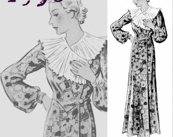 "Boudoir Robe Dressing Gown (Bust 96cm/38"") - 1930's - Vintage Reproduction PDF Pattern -  made from original 1936 Pattern"